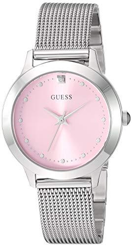 ゲス GUESS 腕時計 レディース 【送料無料】GUESS Stainless Steel Mesh Bracelet Watch with Pink Genuine Diamond Dial. Color: Silver-Tone (Model: U1197L3)ゲス GUESS 腕時計 レディース