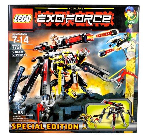 レゴ Lego Year 2007 Special Edition Exo-Force Series Mecha Vehicle Figure Set # 7721 - COMBAT CRAWLER X2 with Detachable Battle Machine, Clawed Legs, Prison Capture Cage and Powerful Firing Cannon Plus Ryo Minifigure with Missile-Launching Strikレゴ