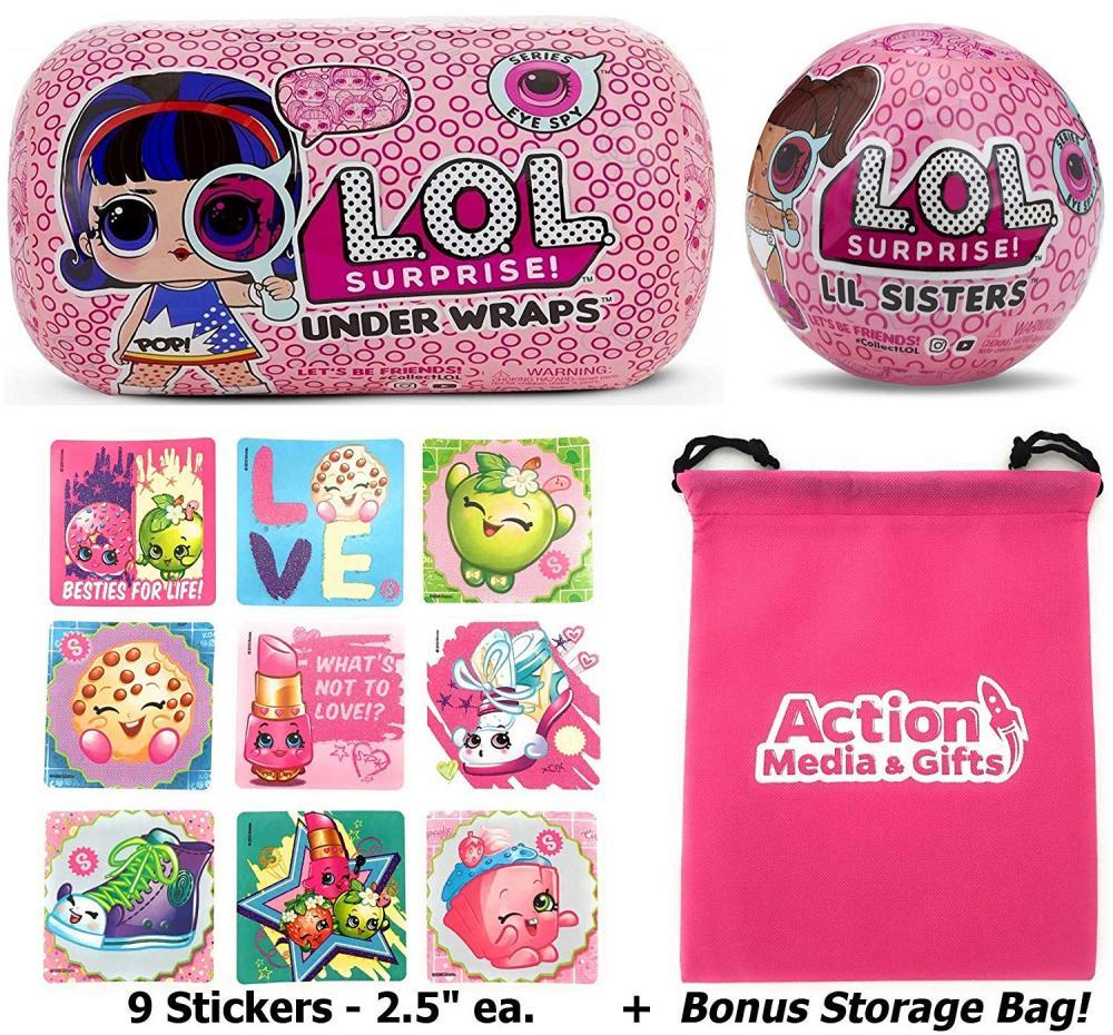 エルオーエルサプライズ 人形 ドール LOL Surprise Dolls Gift Bundle Includes (1) Innovation Series 4 Under Wraps + (1) Eye Spy Lil Sister + 9 Shopkins Stickers with Compatible Toy Storage Bag!エルオーエルサプライズ 人形 ドール