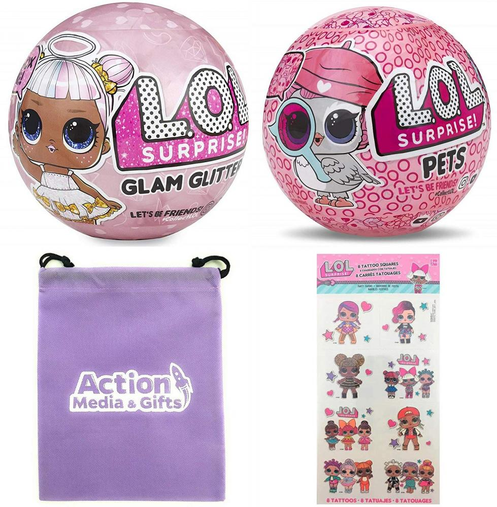 エルオーエルサプライズ 人形 ドール LOL Surprise Dolls Gift Bundle Includes (1) Limited Edition Glitter Glam + (1) Eye Spy Series 4 Pets + 8 L.O.L Tattoos + Bonus Action Media Storage Bag!エルオーエルサプライズ 人形 ドール