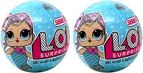 エルオーエルサプライズ 人形 ドール 【送料無料】LOL Surprise Lil Outrageous Littles Series 1 Mermaids LOT of 2 Mystery Packsエルオーエルサプライズ 人形 ドール