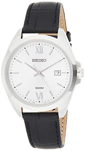 セイコー 腕時計 メンズ 【送料無料】Seiko SUR283 Silver Leather Japanese Quartz Dress Watchセイコー 腕時計 メンズ