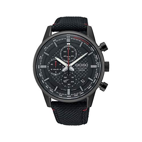 セイコー 腕時計 メンズ Seiko Men's 43.9mm Black Cloth Band Titanium Case Hardlex Crystal Quartz Analog Watch SSB315P1セイコー 腕時計 メンズ