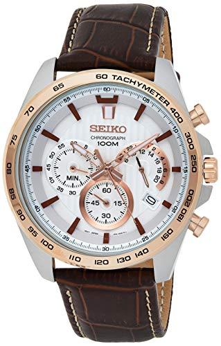 セイコー 腕時計 メンズ 【送料無料】Seiko SSB306P1 Men's Chronograph White Dial Brown Strap Watchセイコー 腕時計 メンズ