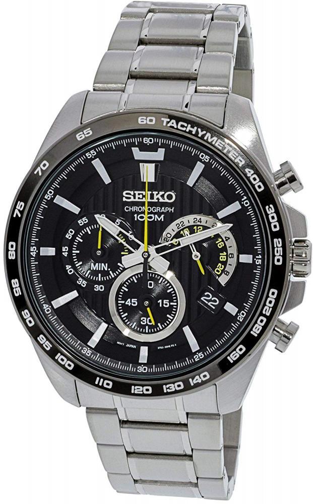 セイコー 腕時計 メンズ Seiko SSB303P1 Men's Black Dial Steel Bracelet Chronograph Watchセイコー 腕時計 メンズ