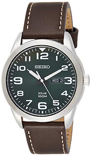 セイコー 腕時計 メンズ 【送料無料】Seiko Men's Year-Round Stainless Steel Solar Powered Watch with Leather Strap, Brown, 22 (Model: SNE473P1)セイコー 腕時計 メンズ