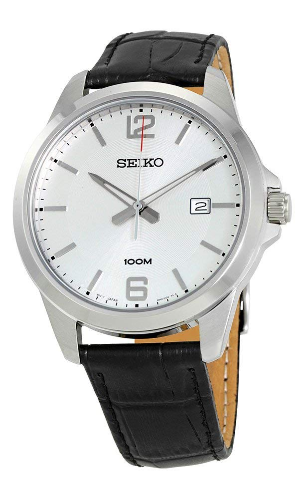 セイコー 腕時計 メンズ Seiko #SUR249 Men's Stainless Steel Leather Band Silver Dial 100M Casual Dress Watchセイコー 腕時計 メンズ