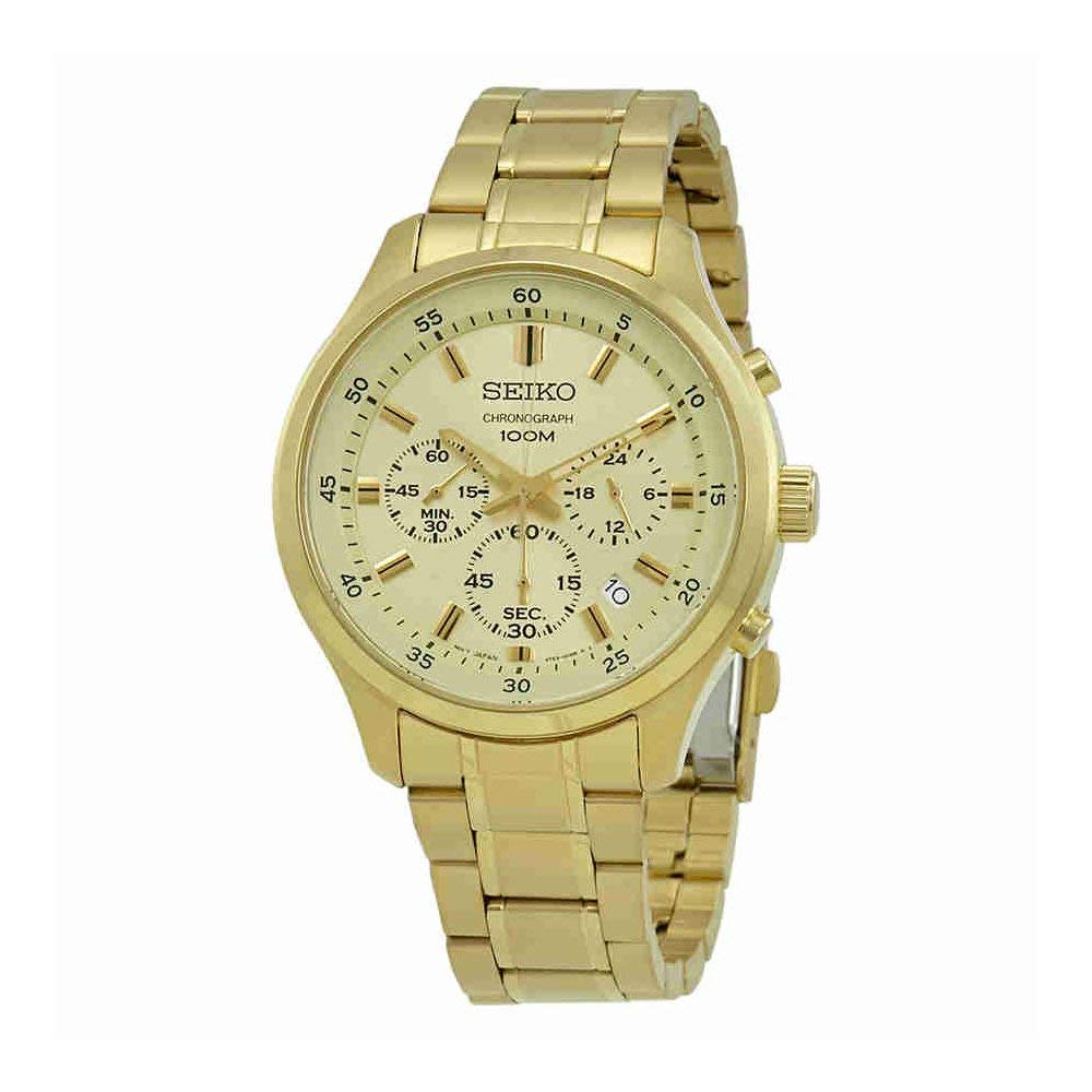 セイコー 腕時計 メンズ Seiko Men's 43mm Gold-Tone Steel Bracelet & Case Hardlex Crystal Quartz White Dial Analog Watch SKS592セイコー 腕時計 メンズ