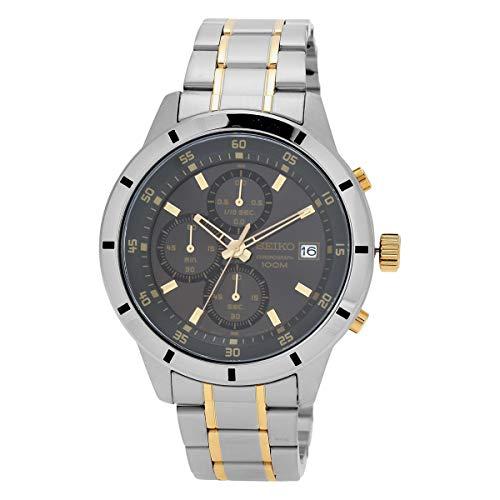 セイコー 腕時計 メンズ Seiko Men's 44.2mm Two Tone Steel Bracelet Steel Case Hardlex Crystal Quartz Grey Dial Analog Watch SKS565セイコー 腕時計 メンズ