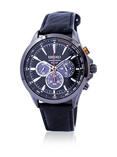 セイコー 腕時計 メンズ 夏のボーナス特集 Seiko Solar Chronograph Black Dial Black Leather Mens Watch SSC499セイコー 腕時計 メンズ 夏のボーナス特集