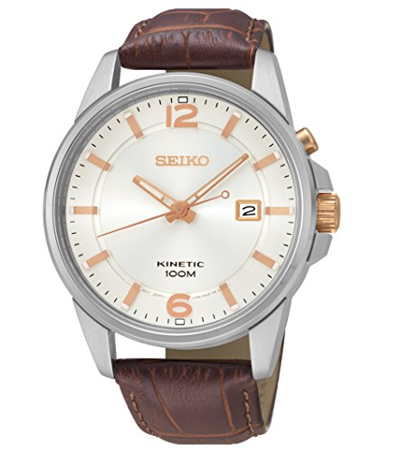 セイコー 腕時計 メンズ 【送料無料】Seiko Kinetic Cream Dial Black Leather Mens Watch SKA669セイコー 腕時計 メンズ