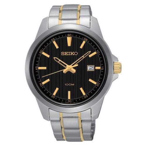 セイコー 腕時計 メンズ Seiko Mens SUR167 Two Toned Stainless Steel Band Black Dial Watchセイコー 腕時計 メンズ