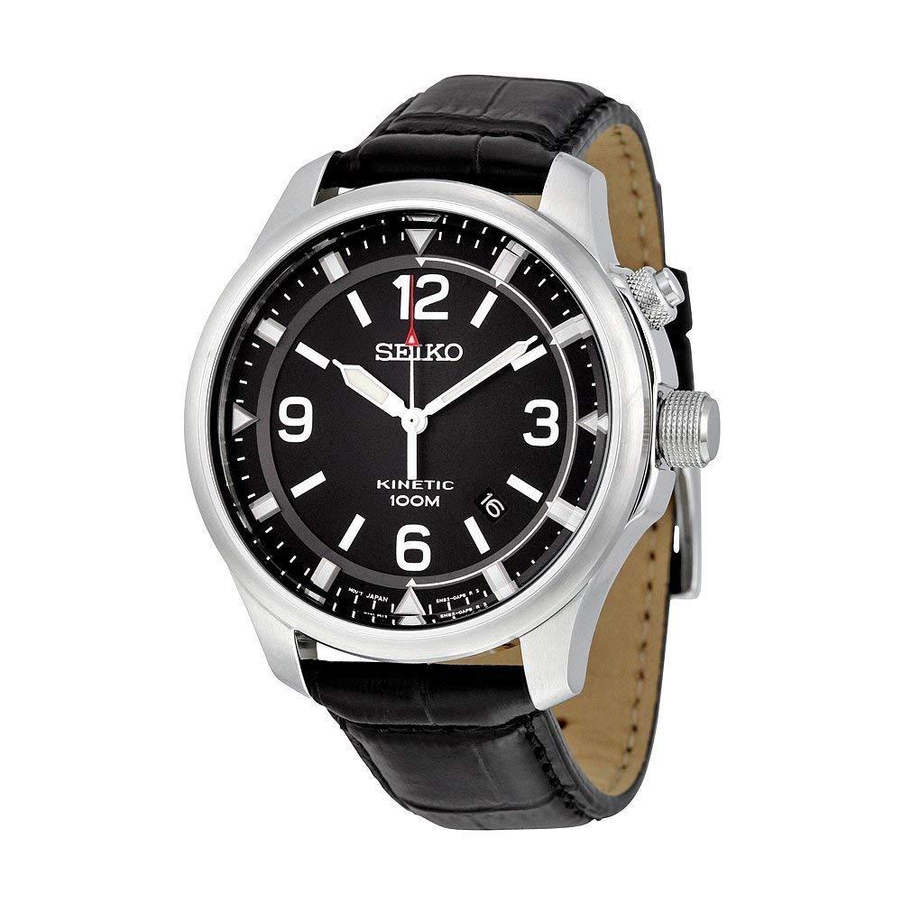 セイコー 腕時計 メンズ Seiko Kinetic Black Dial Leather Band Mens Watch SKA689 by Seiko Watchesセイコー 腕時計 メンズ