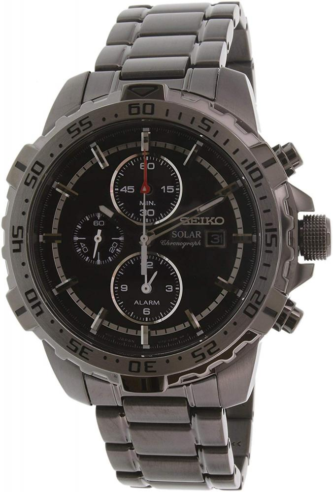 セイコー 腕時計 メンズ Men's Solar Chronograph Gunmetal IP Stainless Steel Black Dialセイコー 腕時計 メンズ