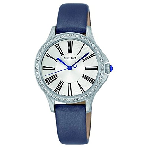 セイコー 腕時計 レディース 【送料無料】Seiko SRZ441 P2 Silver with Gray Leather Women's Analog Quartz Watch with Swarovski Crystal Bezelセイコー 腕時計 レディース