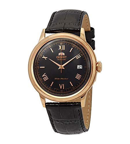 オリエント 腕時計 メンズ 【送料無料】Orient FAC00006B Men's Bambino Version 2 Leather Band Rose Gold Tone Black Dial Automatic Watchオリエント 腕時計 メンズ