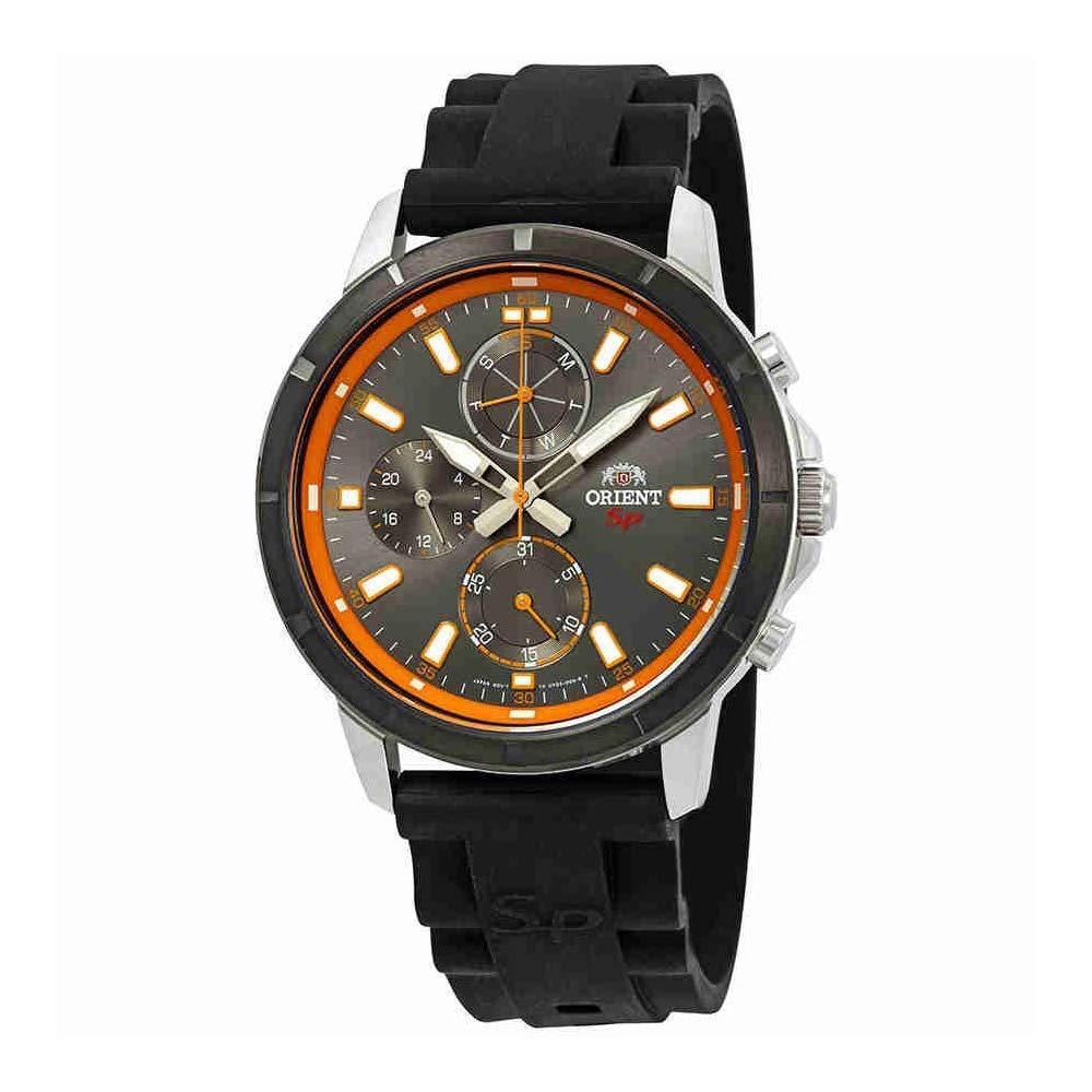 オリエント 腕時計 メンズ Orient Sport Grey and Orange Dial Black Rubber Mens Watch FUY03005Aオリエント 腕時計 メンズ