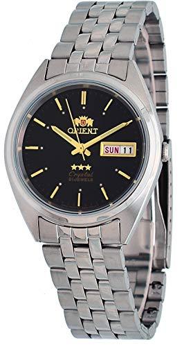 オリエント 腕時計 メンズ 【送料無料】Orient #FAB0000AB Men's 3 Star Stainless Steel Day Date Black Dial Automatic Watchオリエント 腕時計 メンズ