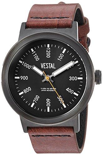 腕時計 ベスタル ヴェスタル メンズ 【送料無料】Vestal Men's Retrofocus Stainless Steel Japanese-Quartz Watch with Leather Strap, Brown, 22 (Model: SLR443L03.BRBK)腕時計 ベスタル ヴェスタル メンズ
