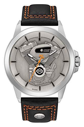 ブローバ 腕時計 メンズ Harley-Davidson Men's Big Twin Engine Leather & Stainless Steel Watch 76A161ブローバ 腕時計 メンズ