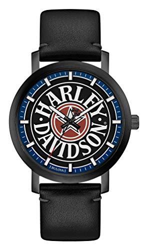 ブローバ 腕時計 メンズ 【送料無料】Harley-Davidson Men's Iconic Fat Boy Leather & Stainless Steel Watch 78A120ブローバ 腕時計 メンズ
