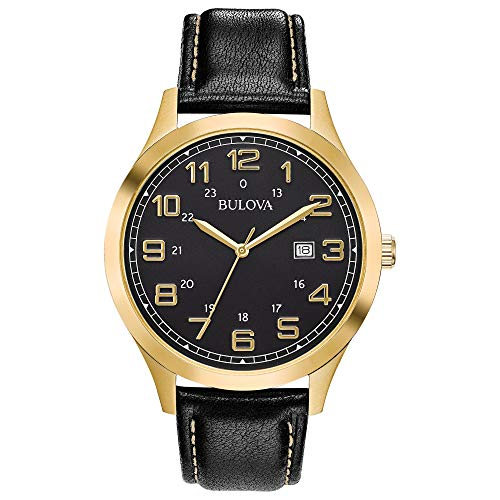 ブローバ 腕時計 メンズ Bulova Men's 97B181 Quartz Gold-Tone Case Black Leather Strap 42mm Watchブローバ 腕時計 メンズ