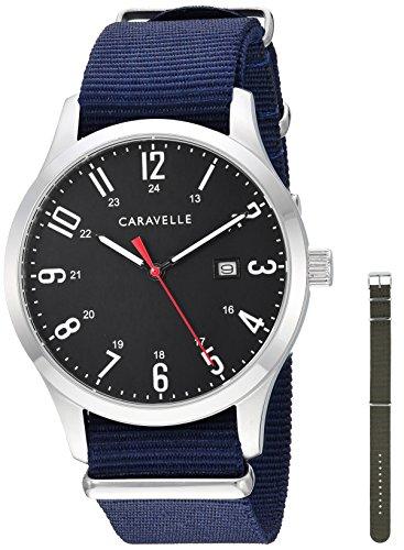 ブローバ 腕時計 メンズ 【送料無料】Caravelle Designed by Bulova Men's Stainless Steel Quartz Watch with Nylon Strap, Blue, 20 (Model: 43B160)ブローバ 腕時計 メンズ