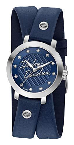 ブローバ 腕時計 レディース 【送料無料】Harley-Davidson Women's Crystal Double Wrap Leather Watch - Blue 76L189ブローバ 腕時計 レディース