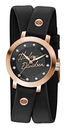 ブローバ 腕時計 レディース 【送料無料】Harley-Davidson Women's Rose-Gold Crystal Double Wrap Leather Watch 77L109ブローバ 腕時計 レディース