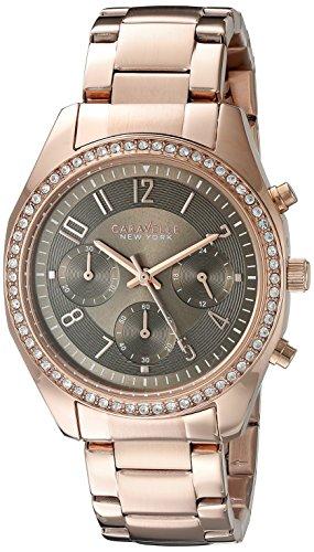 ブローバ 腕時計 レディース Caravelle New York 44L195 Rose Gold Crystal Bezel Grey Dial Watchブローバ 腕時計 レディース