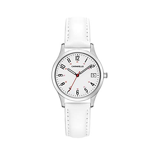ブローバ 腕時計 レディース Caravelle Women's Stainless Steel Quartz Watch with Leather Calfskin Strap, White, 15 (Model: 43M117)ブローバ 腕時計 レディース