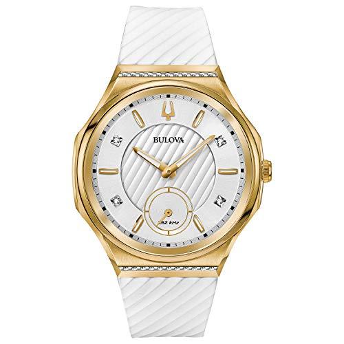 ブローバ 腕時計 レディース Ladies' Bulova Curv Yellow Gold-Tone White Rubber Strap Watch 98R237ブローバ 腕時計 レディース