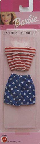バービー バービー人形 着せ替え 衣装 ドレス Barbie Fashion Favorites Fashions Outfit w Red & White Off The Shoulder TOP & Blue & White Stars WRAP Around Skirt (1999)バービー バービー人形 着せ替え 衣装 ドレス