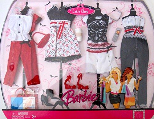 バービー バービー人形 着せ替え 衣装 ドレス BARBIE LET'S SHOP FASHIONS w RED, WHITE & BLACK Color OUTFITS & SHOES (2007)バービー バービー人形 着せ替え 衣装 ドレス