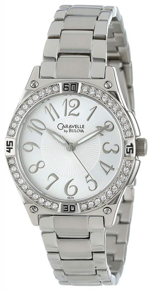 ブローバ 腕時計 レディース 【送料無料】Caravelle by Bulova Women's 43L113 Swarovski Crystal Accented Bracelet Watchブローバ 腕時計 レディース