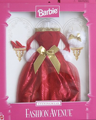 バービー バービー人形 着せ替え 衣装 ドレス Barbie Evening Wear Fashion Avenue Xmas Party Fashions Clothes w Shimmery Red & Gold Gown, Faux Fur Purse & More (1997)バービー バービー人形 着せ替え 衣装 ドレス