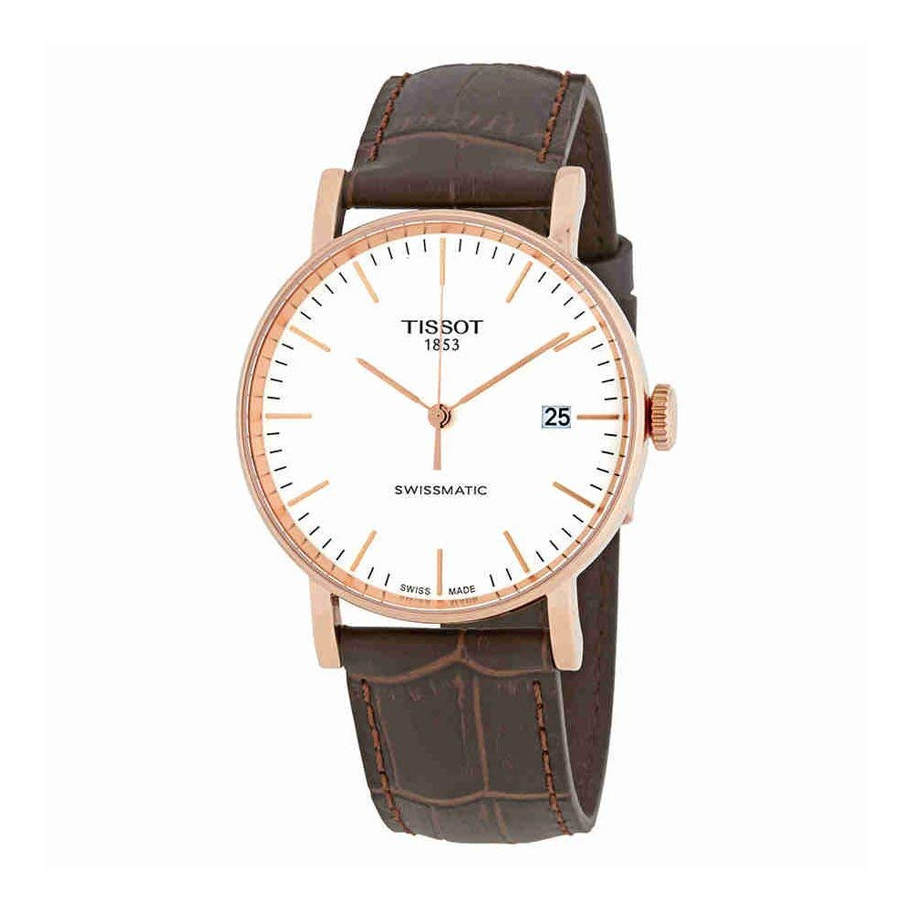 ティソ 腕時計 メンズ Tissot Everytime Swissmatic Mens Rose Gold Automatic Watch - 40mm Analog White Face Dress Watch with Date and Sapphire Crystal - Brown Leather Band Swiss Made Classic Watch for Men T109.407.11.031.00ティソ 腕時計 メンズ