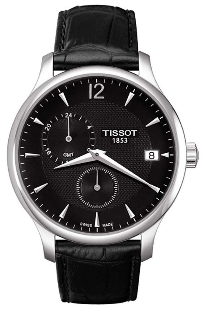 腕時計 ティソ メンズ 【送料無料】Tissot Men's Tradition T063.639.16.057.00 Black Leather Swiss Quartz Watch with Black Dial腕時計 ティソ メンズ
