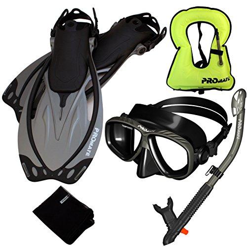 シュノーケリング マリンスポーツ Promate 759001-Ti/Bk-SM Snorkeling Vest Mask Snorkel Fins Combo Setシュノーケリング マリンスポーツ