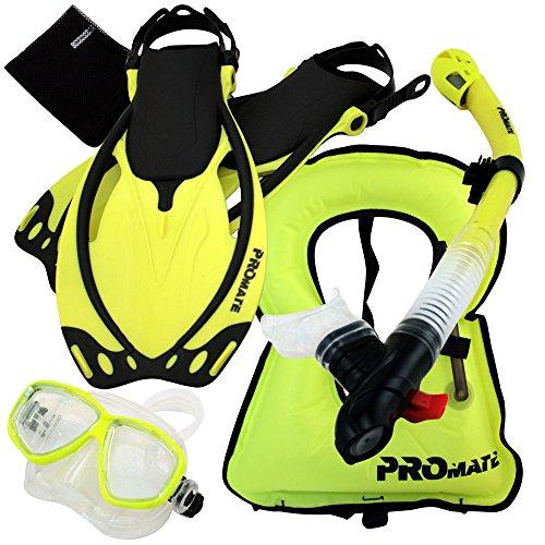 シュノーケリング マリンスポーツ 【送料無料】Promate 759001-Yel-SM Snorkeling Vest Mask Snorkel Fins Combo Setシュノーケリング マリンスポーツ