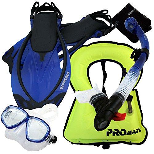 シュノーケリング マリンスポーツ Promate 759001-Blue-SM Snorkeling Vest Mask Snorkel Fins Combo Setシュノーケリング マリンスポーツ