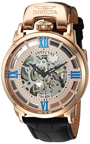インヴィクタ インビクタ 腕時計 メンズ Invicta Men's Objet d'Art Stainless Steel Automatic-self-Wind Watch with Leather-Calfskin Strap, Black, 22 (Model: 22615インヴィクタ インビクタ 腕時計 メンズ