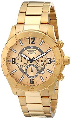 インヴィクタ インビクタ 腕時計 メンズ 【送料無料】Invicta Men's 1423 Specialty Chronograph Gold Dial 18K Gold Ion-Plated Stainless Steel Watchインヴィクタ インビクタ 腕時計 メンズ