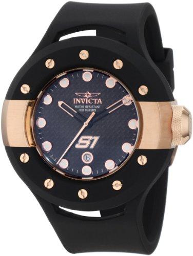 インヴィクタ インビクタ 腕時計 メンズ 【送料無料】Invicta Men's 1944 S1 Black Carbon Fiber Dial Black Polyurethane Watchインヴィクタ インビクタ 腕時計 メンズ