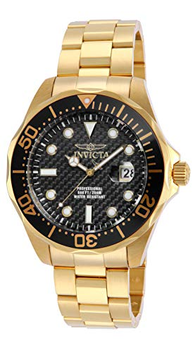 インヴィクタ インビクタ 腕時計 メンズ 【送料無料】Invicta Men's 14356 Pro Diver Black Carbon Fiber Dial 18k Gold Ion-Plated Stainless Steel Watchインヴィクタ インビクタ 腕時計 メンズ