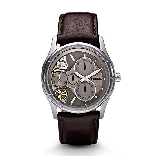 フォッシル 腕時計 メンズ ME1020 Fossil Men's ME1020 Brown Leather Strap Textured Champagne Cutaway Analog Dial Multifunction Chronograph Watchフォッシル 腕時計 メンズ ME1020