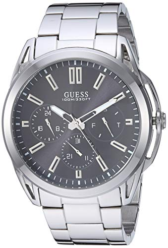 ゲス GUESS 腕時計 メンズ 【送料無料】GUESS Stainless Steel + Black Bracelet Watch with Day, Date + 24 Hour Military/Int'l Time. Color: Silver-Tone (Model: U1176G2)ゲス GUESS 腕時計 メンズ