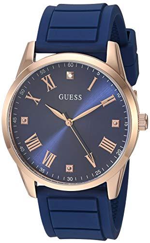 ゲス GUESS 腕時計 メンズ 【送料無料】GUESS Comfortable Iconic Blue Stain Resistant Silicone Watch with Blue Diamond Dial + Rose Gold-Tone Roman Numerals. Color: Rose Gold-Tone/Blue (Model U1221G3)ゲス GUESS 腕時計 メンズ