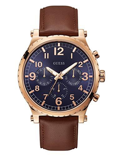 ゲス GUESS 腕時計 メンズ 【送料無料】GUESS Casual Brown Genuine Leather Chrono-Look Watch with Day, Date + 24 Hour Military/Int'l Time. Color: Brown/Rose Gold-Tone (Model: U1215G1)ゲス GUESS 腕時計 メンズ