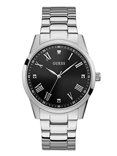 ゲス GUESS 腕時計 メンズ 【送料無料】GUESS Stainless Steel Bracelet Watch with Black Genuine Diamond Dial + Roman Numerals. Color: Silver-Tone (Model U1194G1)ゲス GUESS 腕時計 メンズ